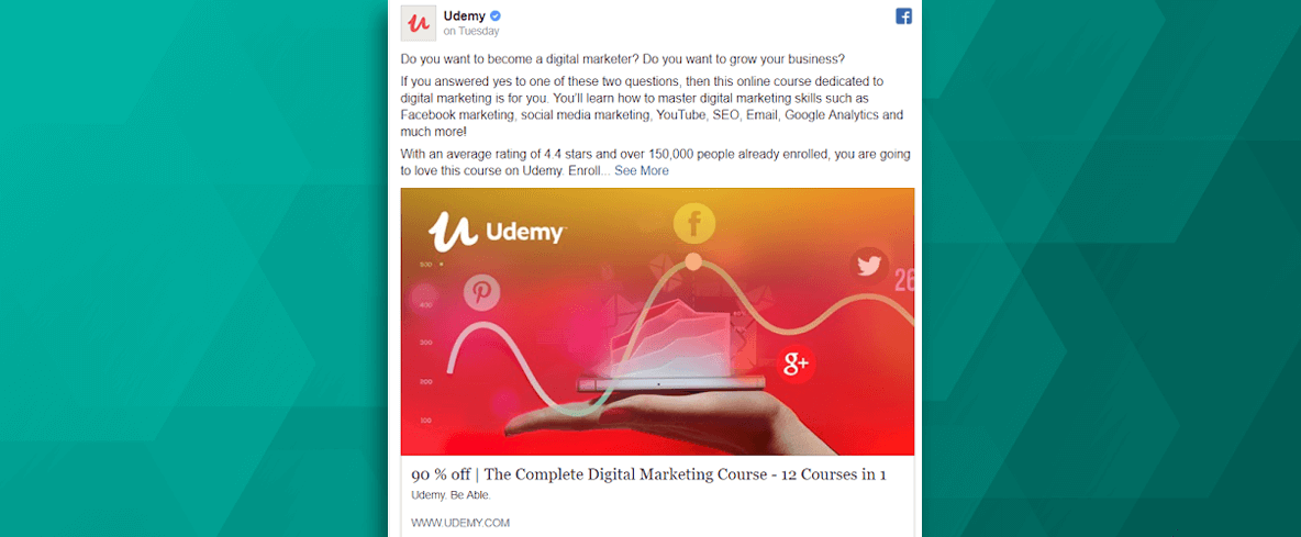 Udemy Facebook Ad Example