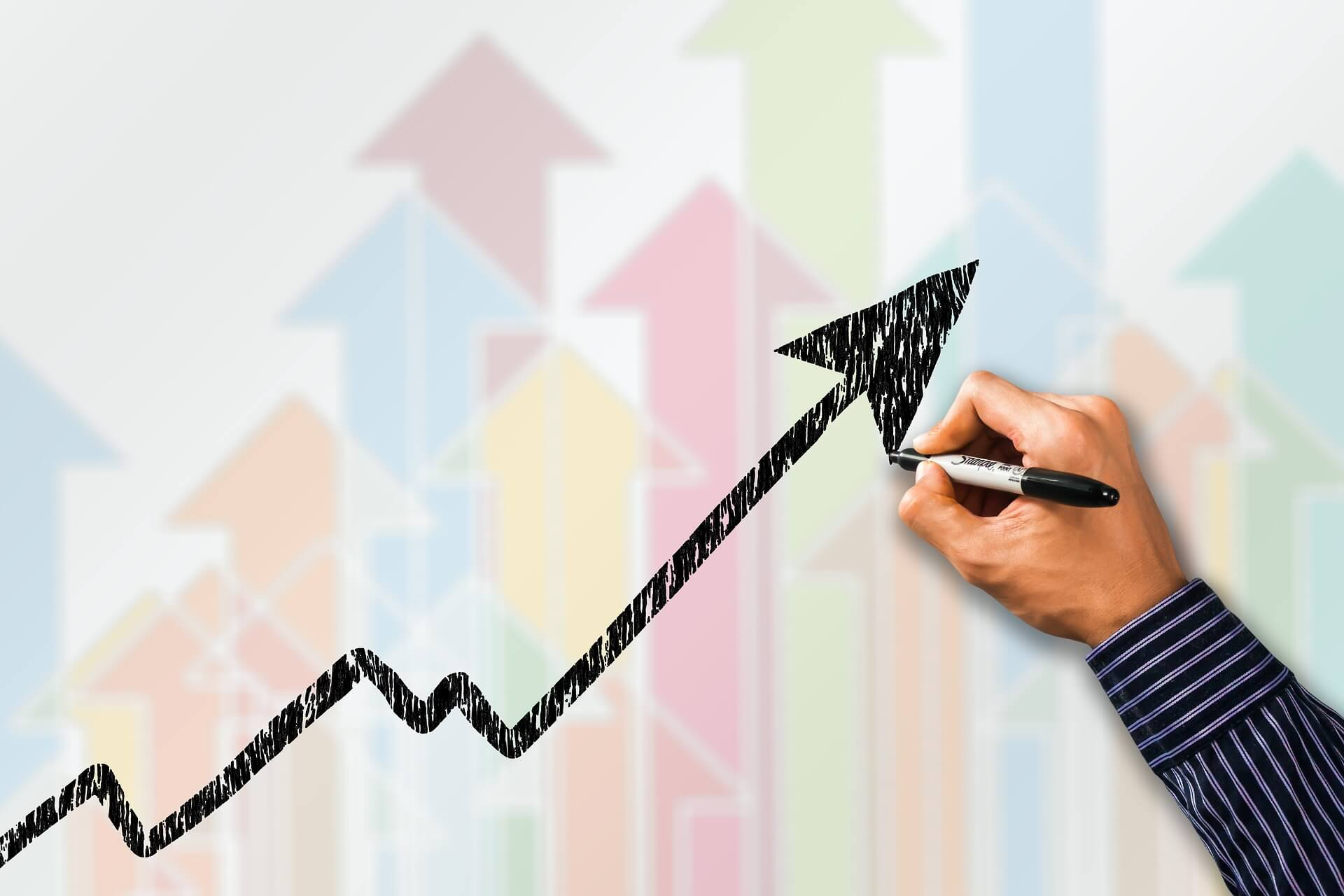 business trend upwards
